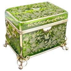 Very Large Antique MOSER Casket with Enamelled Butterflies and Dore Bronze Mounts - Huge !