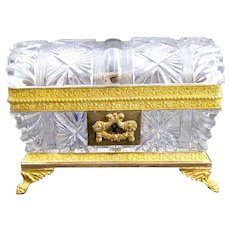 Charles X Antique Cut Crystal BACCARAT Casket Box