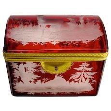 Antique Bohemian Ruby Red Engraved Deer Casket Box