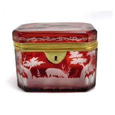 Finely Engraved Bohemian Biedermeier Ruby Red Box