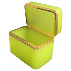 RARE Antique French Yellow Opaline Glass Casket Box with Smooth Dore Bronze Mounts.