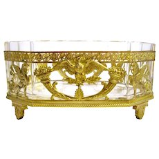 Super Antique Empire Crystal & Dore Bronze Jardiniere