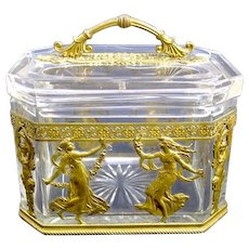 Antique French Napoleon III Crystal & Bronze Casket Box