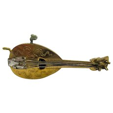 Antique Miniature Vertu Mandolin Tape Measure Sewing Item