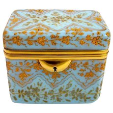 Antique Bohemian MOSER Turquoise Glass Enamelled Casket Box