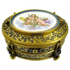 High Quality Signed Porcelain & Bronze Box