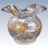 Antique St Louis Glass Enamelled Vase