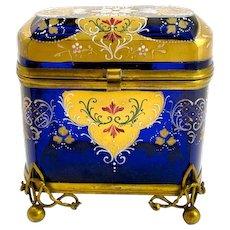 Antique Bohemian Enamelled Casket Box