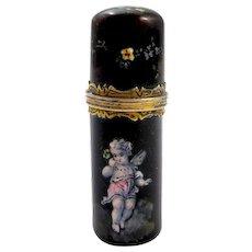 Antique Palais Royal Enamelled Cherub Perfume Bottle