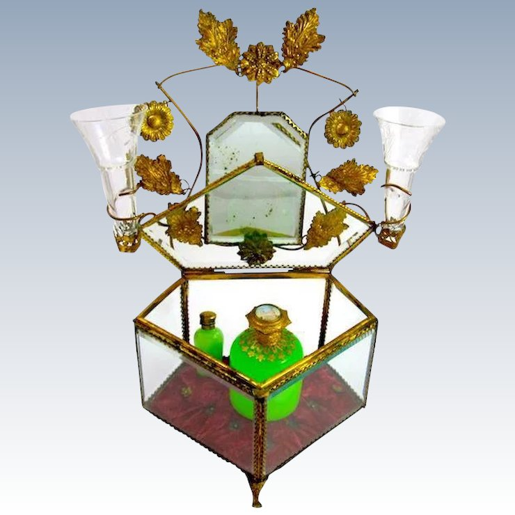 Large Antique French Crystal Dressing Table Set Casket Box : Grand ...