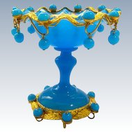 Antique French Blue Opaline Glass Bowl With Opaline Baubles