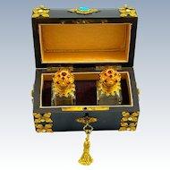Antique Dark Pear Wood 'Jewelled' Perfume Casket