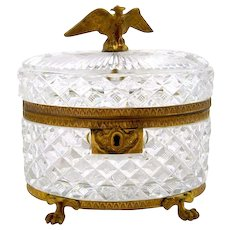 Antique Baccarat Cut Crystal Casket Box with Eagle Finial