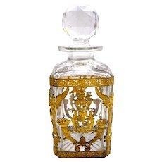 Large Napoleon III Crystal & Dore Bronze Toilette Bottle