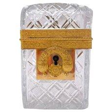 Antique Charles X High Quality Cut Crystal Casket Box
