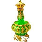 Palais Royal Green Opaline Glass Perfume Bottle