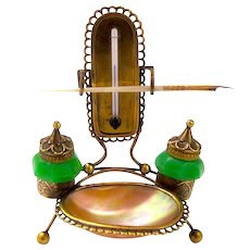 Palais Royal Green Opaline Glass & Mother of Pearl Inkwell