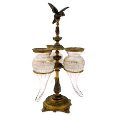 Antique French Dore Bronze & Crystal Epergne Centrepiece