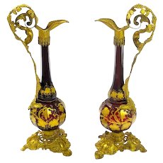 Pair Antique Bohemian Ruby Red Glass & Bronze Vases