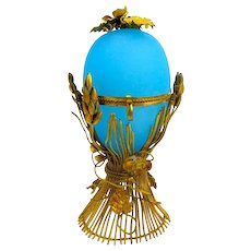 Antique French Palais Royal Opaline Glass Egg Shaped Casket Box