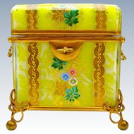 Antique Bohemian MOSER Yellow Casket Box