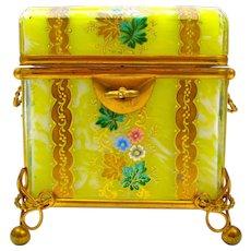Antique Bohemian MOSER Yellow Casket Box