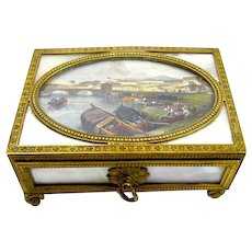 A Fine Rectangular Charles X Palais Royal Mother of Pearl Box.