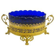 Napoleon III Dore Bronze and Blue Crystal Jardiniere.