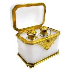 Antique Baccarat Opaline Glass Perfume Casket Box