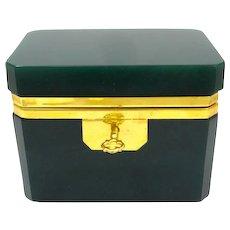 Italian Murano Dark Green Casket Box