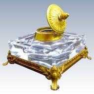 Antique Napoleon III Cut Crystal Inkwell with Fine Dore Bronze Mounts.