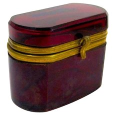 Antique French Miniature Ruby Red Casket Box with Smooth Dore Bronze Mounts and S Clasp