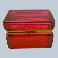 Italian Murano Cranberry Red Glass Casket Box