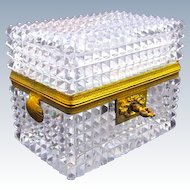 Antique BACCARAT Rectangular Highly Cut Crystal Casket with Scallop Shell Handles & Key.