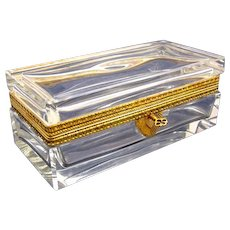 Antique Rectangular French 19th Century Smooth Crystal Casket with Dore Bronze Mounts & Key.