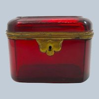 Antique French Deep Ruby Red Casket with Rounded Corner and Dore Bronze Mounts.