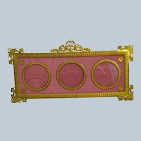 Antique Empire Dore Bronze and Silk Triple Photo Frame