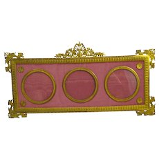 Antique Empire Dore Bronze and Silk Triple Photo Frame