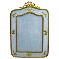 An Extremely Large French Empire Silk & Dore Bronze Frame