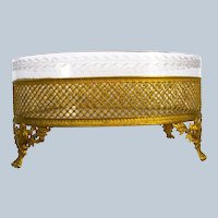 Antique French Empire Dore Bronze and Crystal Jardiniere