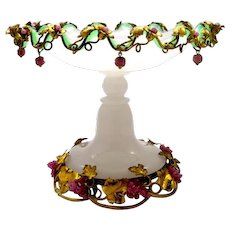 A Large Antique French Palais Royal White Opaline Glass Centrepiece