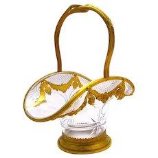 Napoleon III Dore Bronze & Crystal Basket