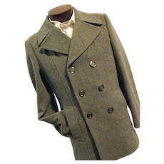SHARP Utex Bulgaria Mens Gray Wool Blend Double Breasted Peacoat Coat 36 Small