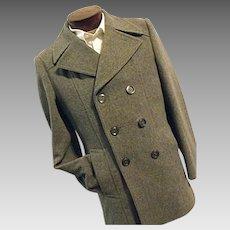 SHARP Utex Bulgaria Mens Gray Wool Blend Double Breasted Peacoat Coat 36 Small