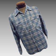 Vintage 1960's NOS Sportsman Cal-Made Mens Blue Plaid Shirt Med Collar Loop