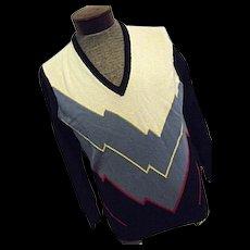 Vintage Pringle of Scotland Intarsia Mens 100% Cashmere Sweater 42 Lg V-Neck