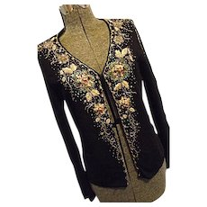 GORGEOUS Yiyunerdi Womens Black Rayon Sweater Embellished Sequins Beads Ribbon