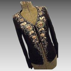 GORGEOUS Yiyunerdi Womens Black Rayon Sweater Embellished Sequins Beads Ribbon