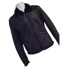 Vintage Ermenegildo Z Zegna Mens Black Shearling Leather Bomber Jacket XS 36 US EUC