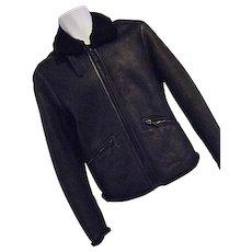 Vintage Ermenegildo Z Zegna Mens Black Shearling Leather Bomber Jacket XS 36 US EUC